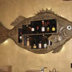 wall liquor display